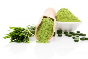 Spirulina; chlorella and wheatgrass. Green food supplement. Green pills; wheatgrass blades and ground powder isolated on white background. Healthy lifestyle.